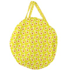 Square Flowers Yellow Giant Round Zipper Tote