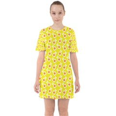 Square Flowers Yellow Sixties Short Sleeve Mini Dress