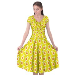 Square Flowers Yellow Cap Sleeve Wrap Front Dress