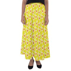 Square Flowers Yellow Flared Maxi Skirt