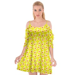 Square Flowers Yellow Cutout Spaghetti Strap Chiffon Dress