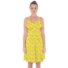 Square Flowers Yellow Ruffle Detail Chiffon Dress
