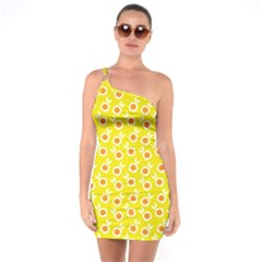 Square Flowers Yellow One Soulder Bodycon Dress