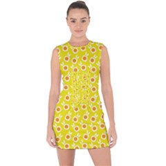 Square Flowers Yellow Lace Up Front Bodycon Dress