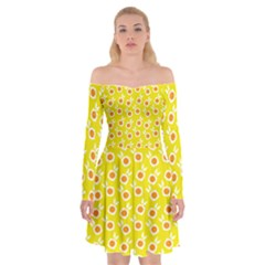 Square Flowers Yellow Off Shoulder Skater Dress