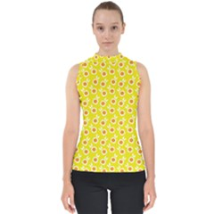 Square Flowers Yellow Shell Top