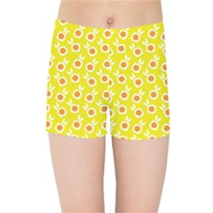 Square Flowers Yellow Kids Sports Shorts