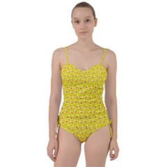 Square Flowers Yellow Sweetheart Tankini Set