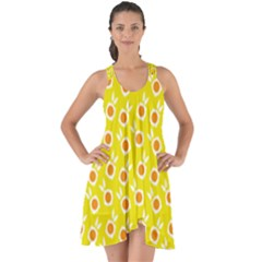 Square Flowers Yellow Show Some Back Chiffon Dress
