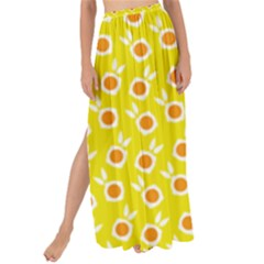 Square Flowers Yellow Maxi Chiffon Tie Up Sarong