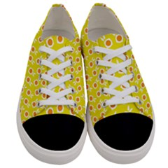 Square Flowers Yellow Women s Low Top Canvas Sneakers