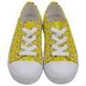 Square Flowers Yellow Kids  Low Top Canvas Sneakers View1