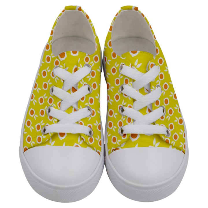 Square Flowers Yellow Kids  Low Top Canvas Sneakers