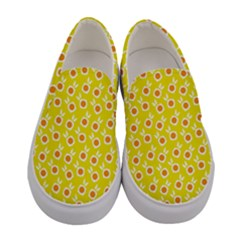 Square Flowers Yellow Women s Canvas Slip Ons