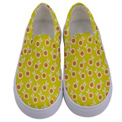 Square Flowers Yellow Kids  Canvas Slip Ons