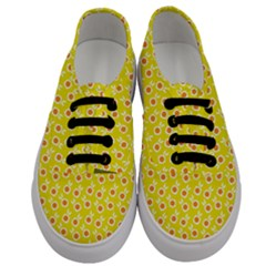Square Flowers Yellow Men s Classic Low Top Sneakers