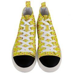 Square Flowers Yellow Men s Mid Top Canvas Sneakers