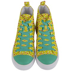 Square Flowers Yellow Women s Mid Top Canvas Sneakers