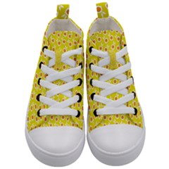 Square Flowers Yellow Kid s Mid Top Canvas Sneakers