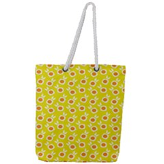 Square Flowers Yellow Full Print Rope Handle Tote (large)