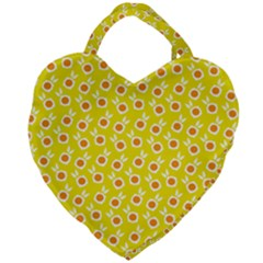 Square Flowers Yellow Giant Heart Shaped Tote