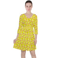 Square Flowers Yellow Ruffle Dress