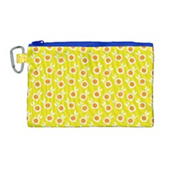 Square Flowers Yellow Canvas Cosmetic Bag (large)