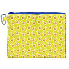 Square Flowers Yellow Canvas Cosmetic Bag (xxl)