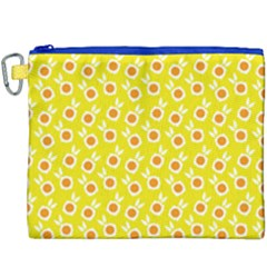 Square Flowers Yellow Canvas Cosmetic Bag (xxxl)