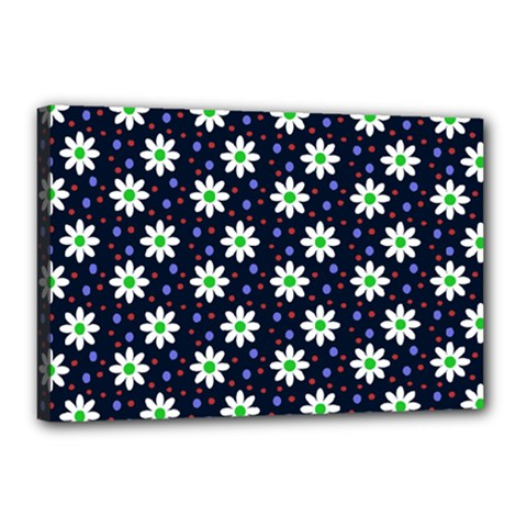 Daisy Dots Navy Blue Canvas 18  X 12