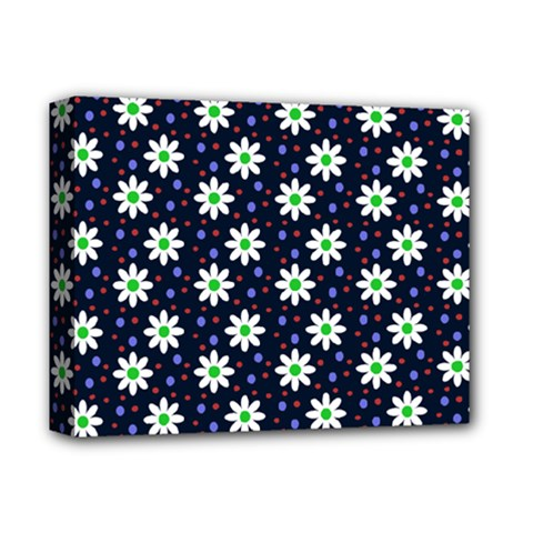 Daisy Dots Navy Blue Deluxe Canvas 14  X 11