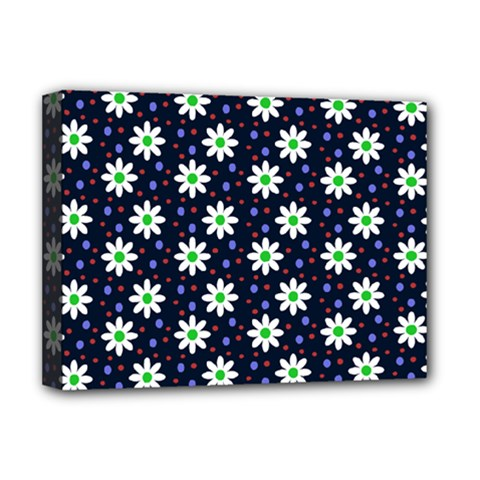 Daisy Dots Navy Blue Deluxe Canvas 16  X 12