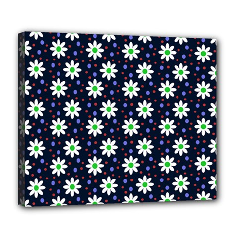 Daisy Dots Navy Blue Deluxe Canvas 24  X 20