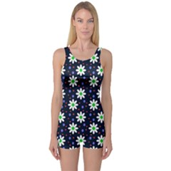 Daisy Dots Navy Blue One Piece Boyleg Swimsuit