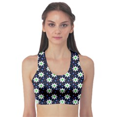 Daisy Dots Navy Blue Sports Bra