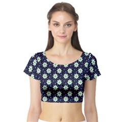 Daisy Dots Navy Blue Short Sleeve Crop Top