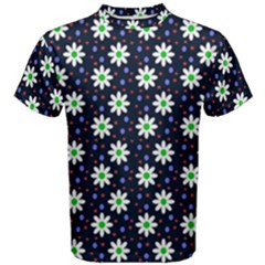 Daisy Dots Navy Blue Men s Cotton Tee
