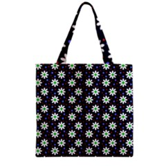 Daisy Dots Navy Blue Grocery Tote Bag