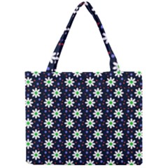 Daisy Dots Navy Blue Mini Tote Bag