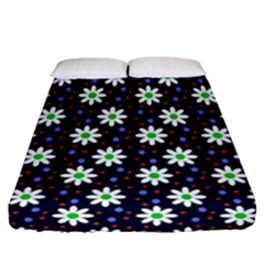 Daisy Dots Navy Blue Fitted Sheet (queen Size)