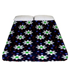 Daisy Dots Navy Blue Fitted Sheet (king Size)
