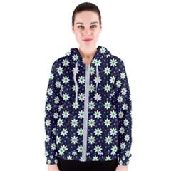 Daisy Dots Navy Blue Women s Zipper Hoodie