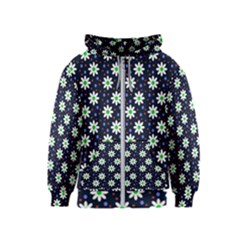 Daisy Dots Navy Blue Kids  Zipper Hoodie