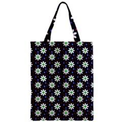 Daisy Dots Navy Blue Zipper Classic Tote Bag