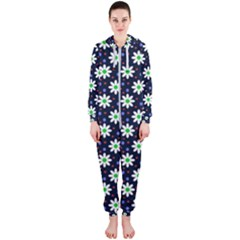 Daisy Dots Navy Blue Hooded Jumpsuit (ladies)