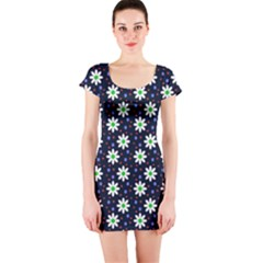 Daisy Dots Navy Blue Short Sleeve Bodycon Dress