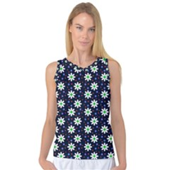 Daisy Dots Navy Blue Women s Basketball Tank Top