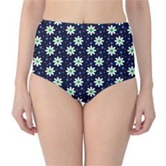 Daisy Dots Navy Blue High Waist Bikini Bottoms