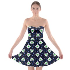 Daisy Dots Navy Blue Strapless Bra Top Dress
