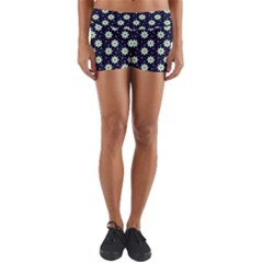 Daisy Dots Navy Blue Yoga Shorts